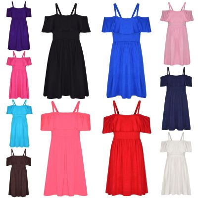 A2Z Trendz Girls Skater Dress Kids Deigner's Plain Color Party Fashion Off Shoulder Dresses New Age 5 6 7 8 9 10 11 12 13 Years