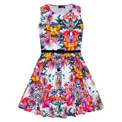 Girls Skater Dress Kids Tropical Print Summer Party Dresses New Age 7 8 9 10 11 12 13 Years