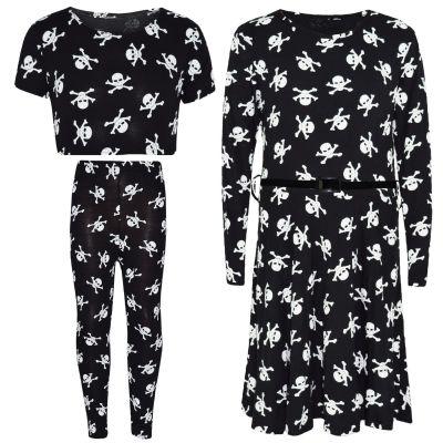 Girls Skull & Cross Bones Print Legging Crop Top & Halloween Skater Dress