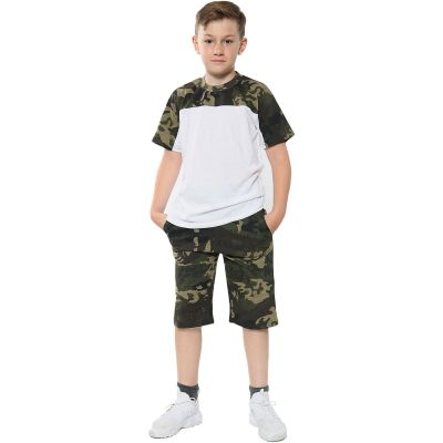 A2Z Trendz Kids Girls Boys Shorts Set 100% Cotton Camouflage Green Panelled Trendy Fashion Summer T Shirt Top And Hot Short Pants Gymwear Outfit Sets New Age 5 6 7 8 9 10 11 12 13 Years