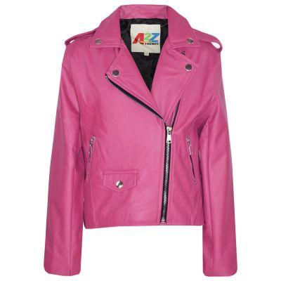 Kids Girls Jackets PU Leather Dusty Pink Zip Up Biker Coat Overcoats.