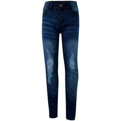 A2Z Trendz Kids Boys Stretchy Jeans Designer's Denim Mid Blue Knee Ripped Fashion Bikers Skinny Pants Stylish Faded Bottom Slim Fit Adjustable Waist Trousers Age 5 6 7 8 9 10 11 12 13 Years