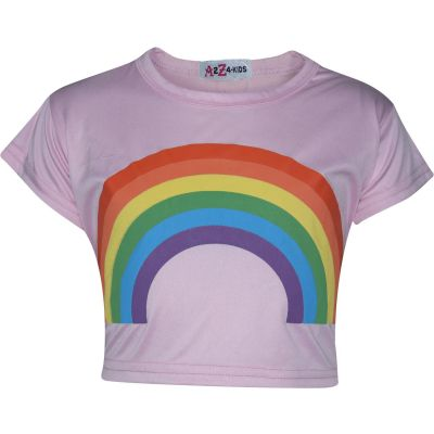 A2Z Trendz Kids Girls Crop Tops Rainbow Print Baby Pink Stylish Fahsion Trendy T Shirt Tank Top & Tees New Age 5 6 7 8 9 10 11 12 13 Years