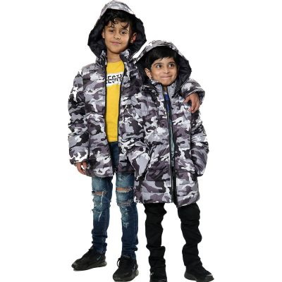 Kids Boys Jacket Camouflage Charcoal Hooded Padded Quilted Jackets Warm Thick Coats.