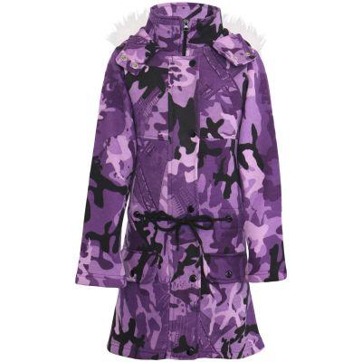 Kids Girls Hooded Jacket Faux Fur Long Parka Camouflage Purple School Jackets Outerwear Coats