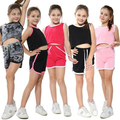 A2Z Trendz Kids Girls Shorts Set 100% Cotton Contrast Taped Trendy Fashion Summer T Shirt Top And Hot Short Pants Outfit Set New Age 5 6 7 8 9 10 11 12 13 Years