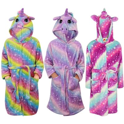 A2Z Trendz Kids Girls Unicorn Hooded Bathrobe Extra Soft Fluffy 3D Galaxy Print Xmas Cosplay Costume Loungewear Nightwear Gown Suit New Age 2-13 Years