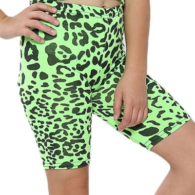 A2Z Trendz Kids Girls Cycling Shorts Leopard Print N.Green Gym Dance Running Trendy Fashion Summer Short Knee Length Half Pant New Age 5 6 7 8 9 10 11 12 13 Years
