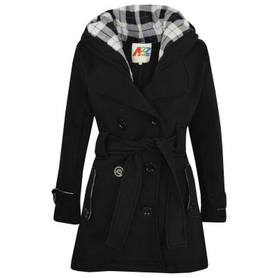 A2Z Trendz Kids Girls Parka Jacket Hooded Trench Coat Fashion Wool Blends Warm Padded Black Jacket Oversized Lapels Belted Cuffs Long Overcoat New Age 5 6 7 8 9 10 11 12 13 Years