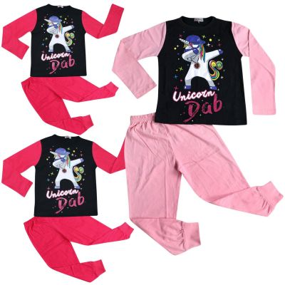 A2Z Trendz Kids Girls Pajamas Designer's Unicorn Dab Print Contrast Sleeves Stylish Pyjamas Loungewear Nightwear PJS Outfit Set New Age 5 6 7 8 9 10 11 12 13 Years