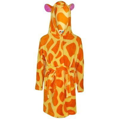 A2Z Trendz Kids Girls Bathrobes Designer's 3D Animal Giraffe Amber Hooded Soft Short Fleece Dressing Gown Nightwear Loungewear Age 2-13 Years
