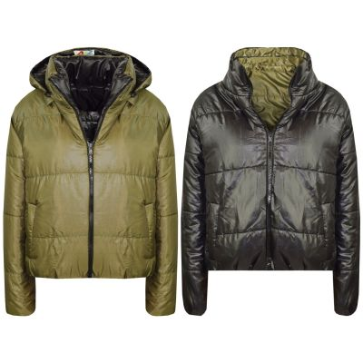 A2Z Trendz Girls Jacket Kids Designer's Olive Reversible Cropped Hooded Padded Quilted Puffer Jackets Warm Thick Coats New Age 5 6 7 8 9 10 11 12 13 Years