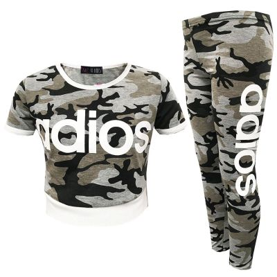 A2Z Trendz Kids Girls Adios Print Crop Top & Legging Set Camouflage Charcoal Tracksuit Jogging Suit New Age 7-13 Years