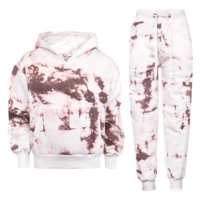 Kids Girls Tracksuit Tie Dye Print Fleece Rust Hooded Crop Top & Bottom Jogging Suit Joggers