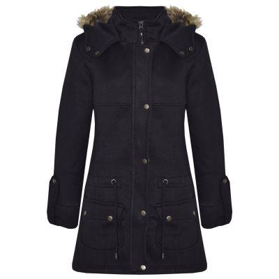 A2Z Trendz Kids Girls Coat Black Fleece Parka Jacket Faux Fur Hooded Long Fashion Winter Coats Age 5 6 7 8 9 10 11 12 13 Years