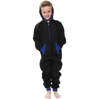A2Z Trendz Kids Girls Boys Royal Blue Contrast Fleece Onesie All In One Jumsuit Playsuit Nightwear New Age 2 3 4 5 6 7 8 9 10 11 12._13 Years