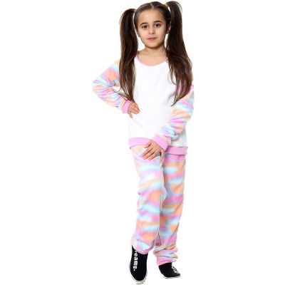 Kids Girls Boys Pyjamas Rainbow Pastel Print Loungewear Flannel Fleece Nightwear PJS.