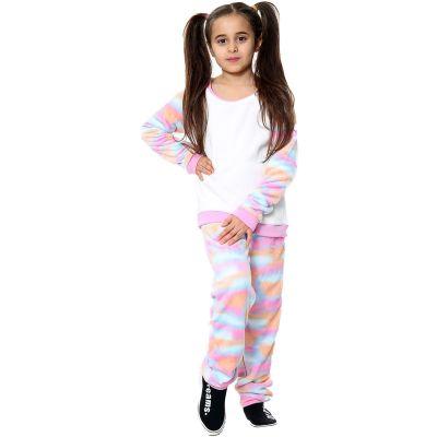 Kids Girls Boys Pyjamas Rainbow Pastel Print Loungewear Flannel Fleece Nightwear PJS.