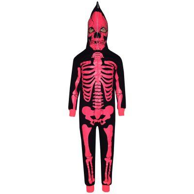 Kid Girls Boys Skeleton Black & Neon Pink Print Halloween Onesie