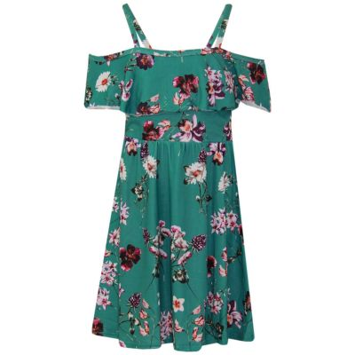 A2Z Trendz Girls Skater Dress Floral Sea Green Summer Party Fashion Off Shoulder Dresses New Age 7 8 9 10 11 12 13 Years