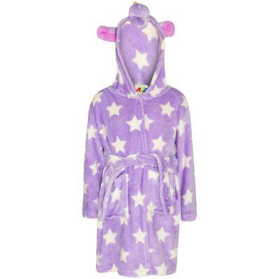 A2Z Trendz Kids Girls Bathrobes Designer's 3D Animal Unicorn Lilac Stars Hooded Soft Short Fleece Dressing Gown Nightwear Loungewear Age 2-13 Years