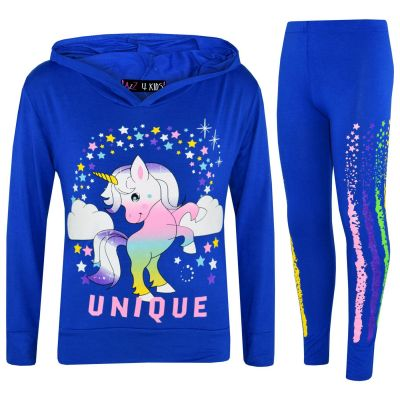 A2Z Trendz Girls Dabbing Unicorn Unique Tracksuit Kids Designer's Rainbow Floss Hooded Royal Blue Top & Legging Lounge Wear New Age 7 8 9 10 11 12 13 Years