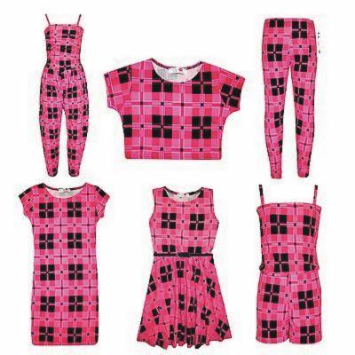 Kids Girls Pink Check Tartan Print Legging Midi Skater Dress Crop Top Jumpsuit Skater Skirt Playsuit Age 7-13 Years