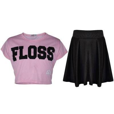 A2Z Trendz Kids Girls Crop Top Designer Floss Print Stylish T Shirt Top & Fashion Skater Skirt Set New Age 5 6 7 8 9 10 11 12 13 Years