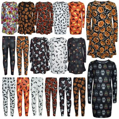 A2Z Trendz Girls Halloween Dresses Skull Bat Web Pumpkin Moon Witches Spider Ghost Print Swing Dress Legging Midi Dress Costume Trick Or Treet Age 7 8 9 10 11 12 13 Years