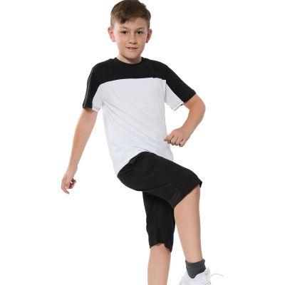 A2Z Trendz Kids Girls Boys Shorts Set 100% Cotton Black Contrast Panelled Trendy Fashion Summer T Shirt Top And Hot Short Pants Gymwear Outfit Sets New Age 5 6 7 8 9 10 11 12 13 Years