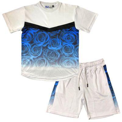A2Z 4 Kids Kids Boys Girls T Shirt Short Set Designer's Flower Two Tone Fade Gradient Print Blue T-Shirt Top Tees & Shorts Set Age 5 6 7 8 9 10 11 12 13 Years