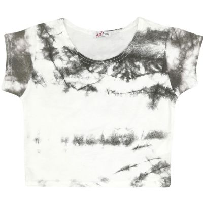 A2Z Trendz Kids Girls Crop Tops Tie Dye Print Grey Stylish Fahsion Trendy T Shirt Tank Top & Tees New Age 5 6 7 8 9 10 11 12 13 Years