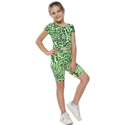A2Z Trendz Kids Girls Crop Top & Cycling Shorts Neon Green Leopard Print Trendy Fashion Summer Clothing Outfit Crop & Short Sets New Age 5 6 7 8 9 10 11 12 13 Years