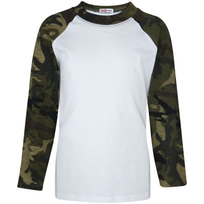 A2Z Trendz Kids Boys Girls Camo Green T Shirts Designer's 100% Cotton Plain Baseball Long Raglan Sleeves Team Sports Tee Soft Feel Casual T-Shirts New Age 2 3 4 5 6 7 8 9 10 11 12 13