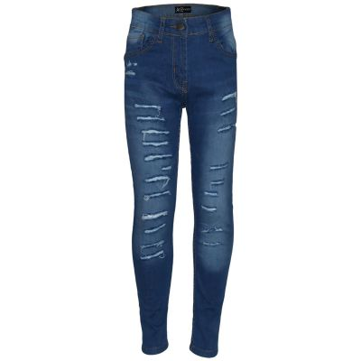 A2Z Trendz Kids Girls Stretchy Mid Blue Denim Jeans Designer's Ripped Faded Fashion Jeggings Skinny Pants Stylish Trousers New Age 5 6 7 8 9 10 11 12 13 Years