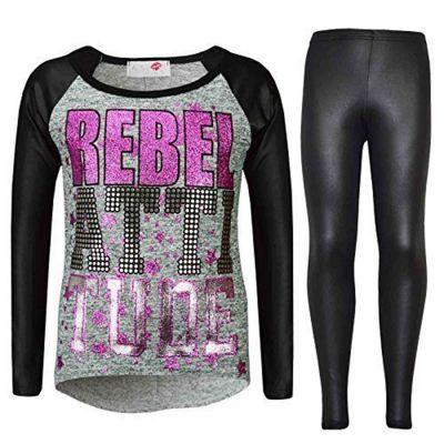 Kids Girls Rebel Attitude Printed Top & Fashion Wet Look Legging Set New Age 3-13 Years