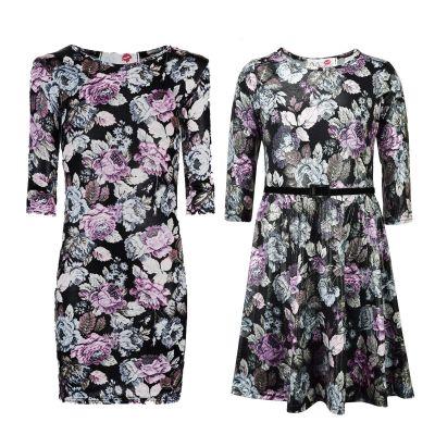 Kids Girls Skater Dress Multi Floral Print Party Fashion Midi Dresses Age 7 8 9 10 11 12 13 Years