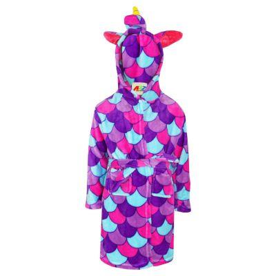 A2Z Trendz Kids Girls Bathrobes Designer's 3D Animal Unicorn Purple Scales Hooded Soft Short Fleece Dressing Gown Nightwear Loungewear Age 2-13 Years