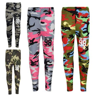 Girls NEW YORK BROOKLYN 98 ATHLECTIC Camouflage Print Trendy Top & Fashion Legging Set New Age 7 8 9 10 11 12 13 Years