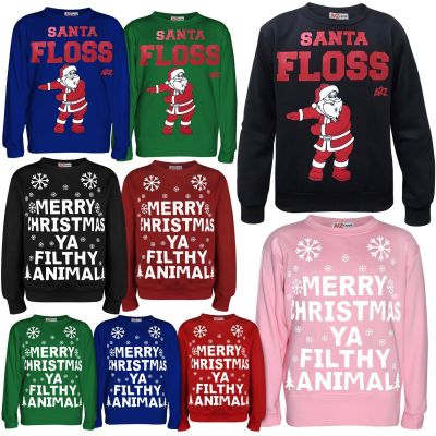 Kids Girls Boys Christmas Jumper Santa Floss A2Z Xmas Festive Sweatshirts Gift