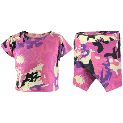 A2Z Trendz Kids Girls Tops Camouflage Baby Pink Print Crop Top & Skort Skirt Shorts 2 Piece Fashion Summer Outfit Clothing Set New Age 7 8 9 10 11 12 13 Years