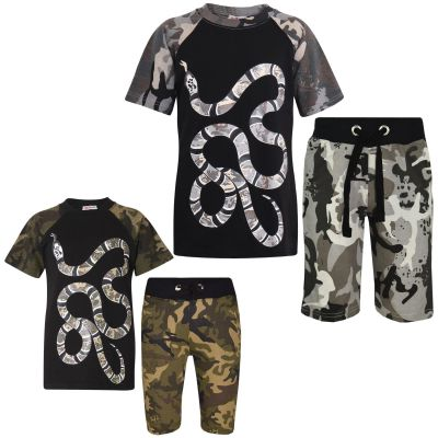 A2Z Trendz Kids Boys T Shirt Short Set Designer's 100% Cotton Snake Print Camouflage T-Shirt Top & Shorts Set New Age 5 6 7 8 9 10 11 12 13 Years
