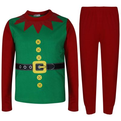 A2Z Trendz Kids Girls Boys Christmas Elf Pyjamas Designer's Contrast Sleeves Festive Xmas Costume PJ'S Set New Age 2 3 4 5 6 7 8 9 10 11 12 13 Years