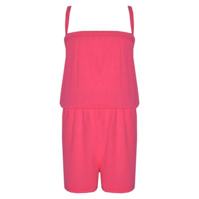 A2Z Trendz Girls Jumpsuit Kids Plain Neon Pink Color Trendy Playsuit All In One Summer Jumpsuits New Age 5 6 7 8 9 10 11 12 13 Years
