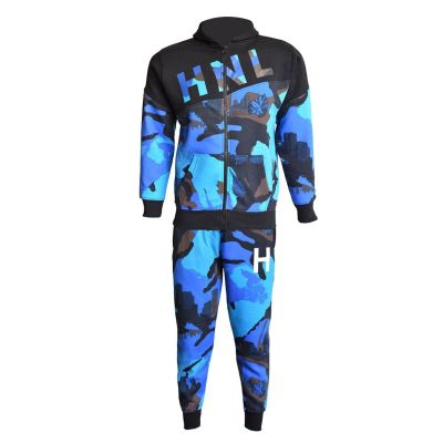 A2Z Trendz Kids Boys Girls Tracksuit HNL Camouflage Royal Blue Hoodie & Bottom Pullover Fashion Sports Wear Jogging Suit Joggers New Age 7 8 9 10 11 12 13 Years