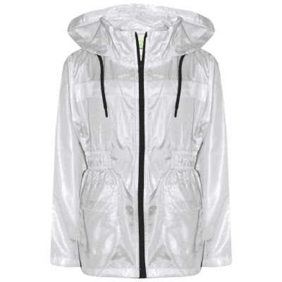 A2Z Trendz Kids Girls Boys Raincoats Jackets Designer's White Light Weight Waterproof Kagool Hooded Cagoule Rain Mac Coats New Age 5 6 7 8 9 10 11 12 13 Years