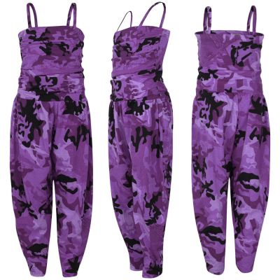 Kids Girls Jumpsuit Camouflage Purple Trendy Fashion All In One Jumpsuits 5-13 Y