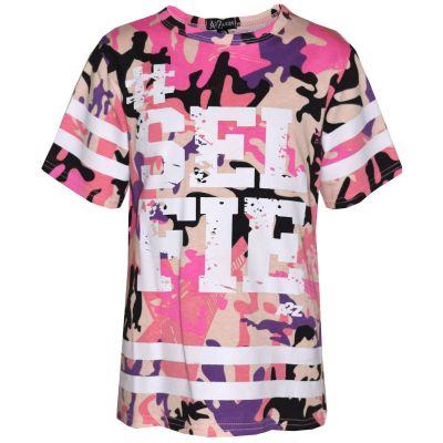 A2Z Trendz Girls Top Kids Designer's #Selfie Print Camouflage Fashion Trendy Baby Pink T Shirt Top Age 5 6 7 8 9 10 11 12 13 Years