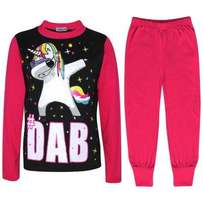 A2Z Trendz Kids Girls Pajamas Designer Dabbing Unicorn #Dab Print Pink Contrast Sleeves Pyjamas Trendy Floss Fashion Loungewear Nightwear Pjs Outfit Set Age 5 6 7 8 9 10 11 12 13 Years