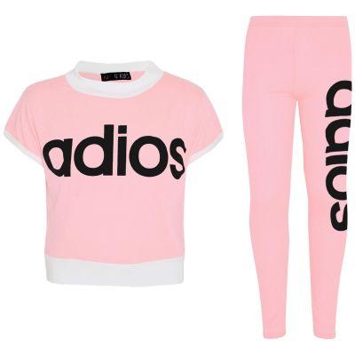 Kids Girls Adios Crop Top Legging Set Baby Pink Half Shirt Jogg Suit Tracksuits